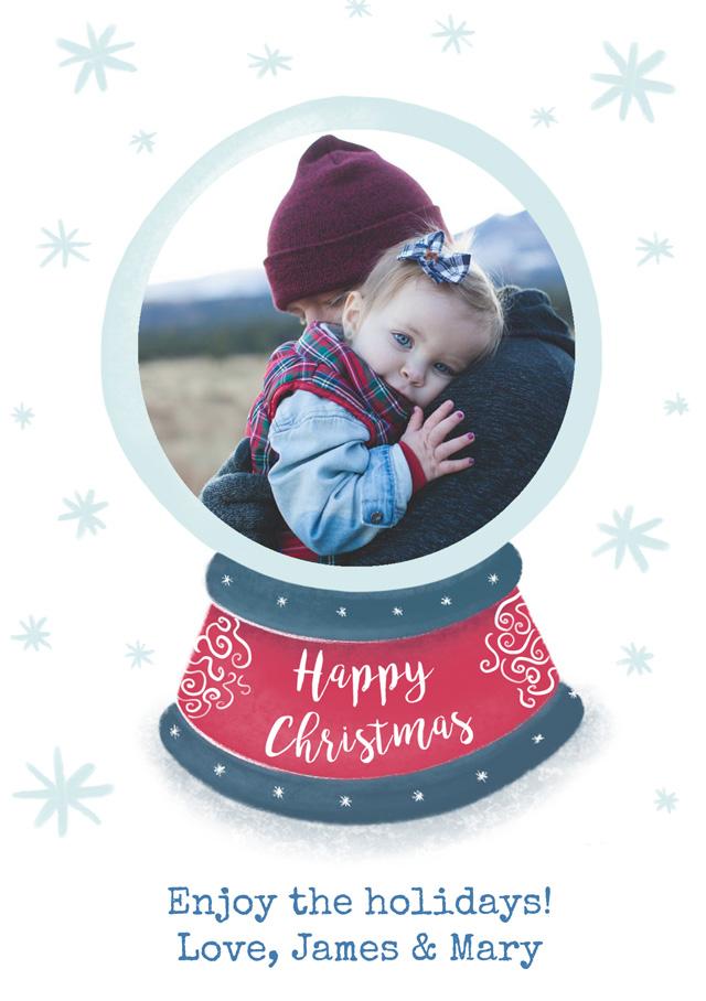 Create a Real Photo Photo Christmas Card Snowglobe Card