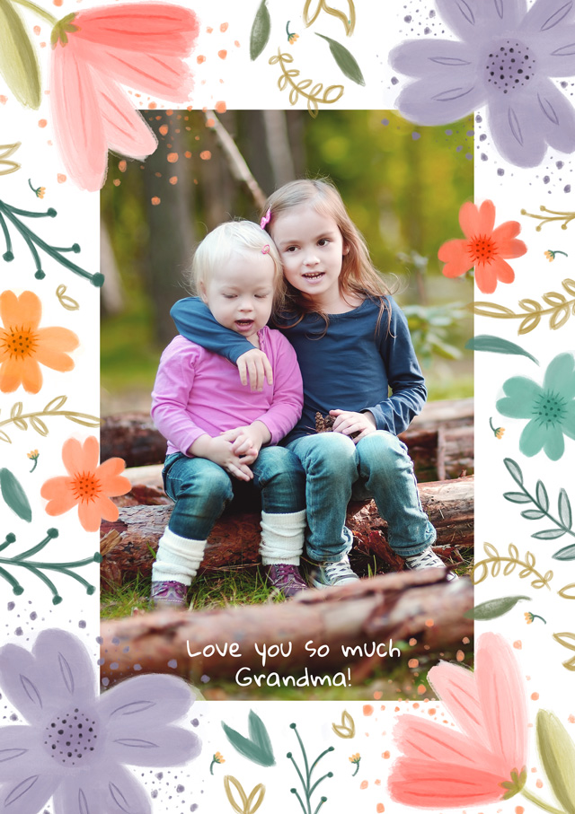 Create a personalised photo card Photo Thinking Of You Card Floral Border