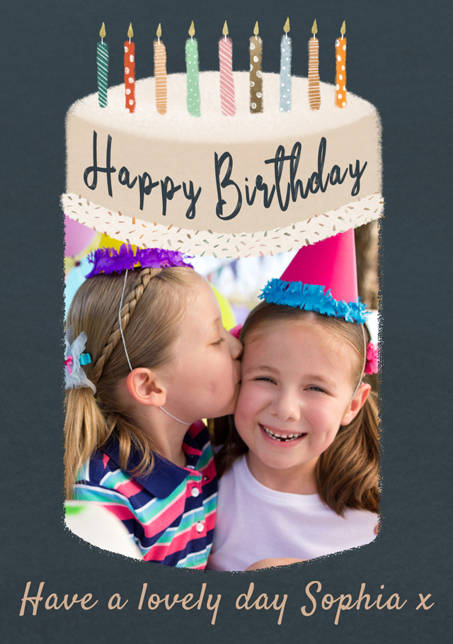 Create a Real Photo Photo Birthday Card Big Birthday Cake Card