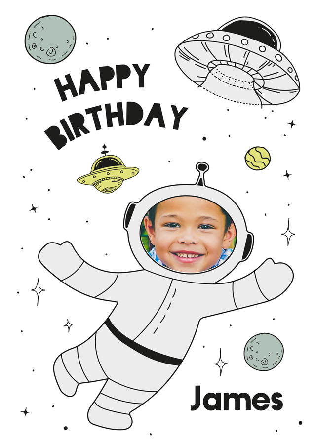 Create a Real Photo Birthday Spaceman Card