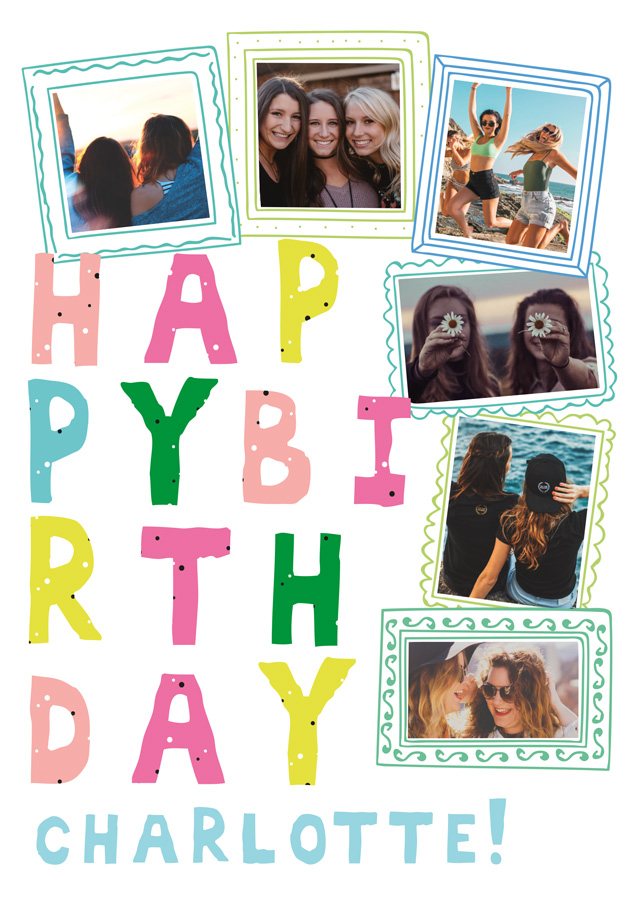 Create a Real Photo Birthday Doodle Frames Card