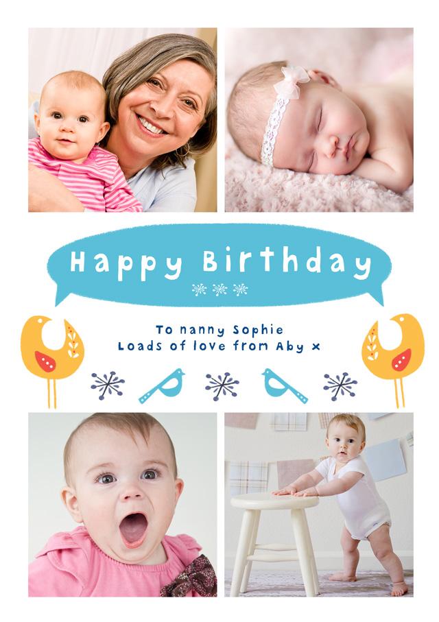 Create a Real Photo Birthday Birds Card