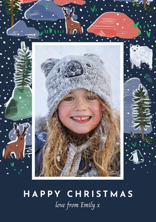 Create a Real Photo Photo Christmas Card Christmas Watercolour Card