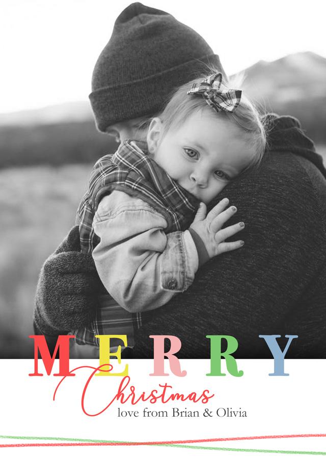 Create a Real Photo Photo Christmas Card Merry Christmas Card
