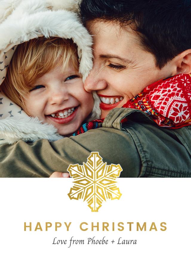 Create a Real Photo Photo Christmas Card Single Snowflake Card