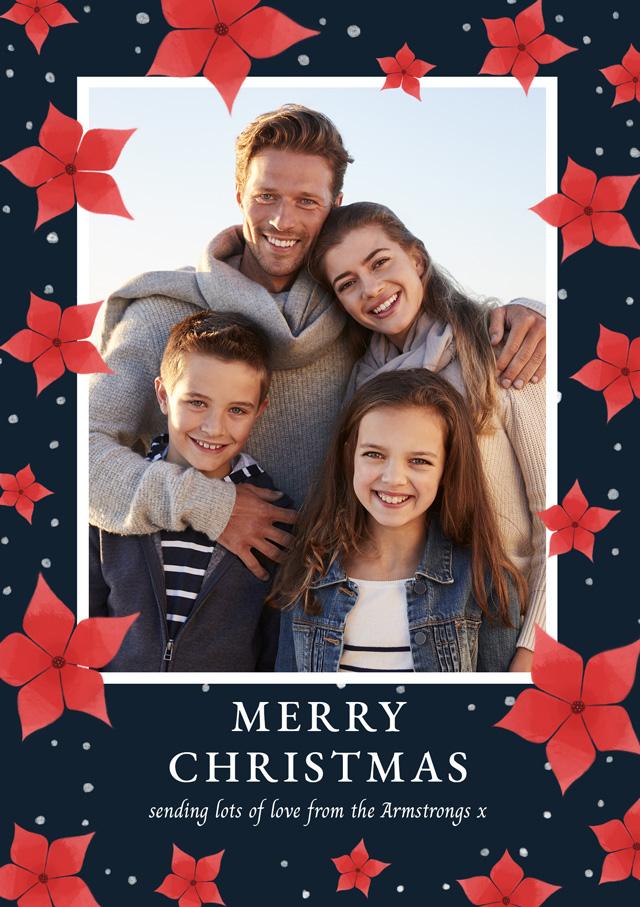 Create a Real Photo Photo Christmas Card Poinsettia Border Card