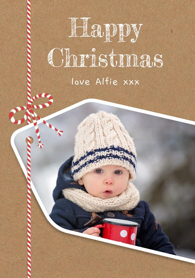 Create a Real Photo Photo Christmas Card Present Tag Card