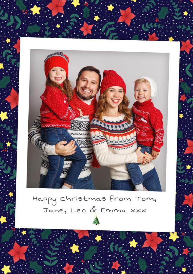 Create a Real Photo Photo Christmas Card Retro Style With Poinsettia Border Card