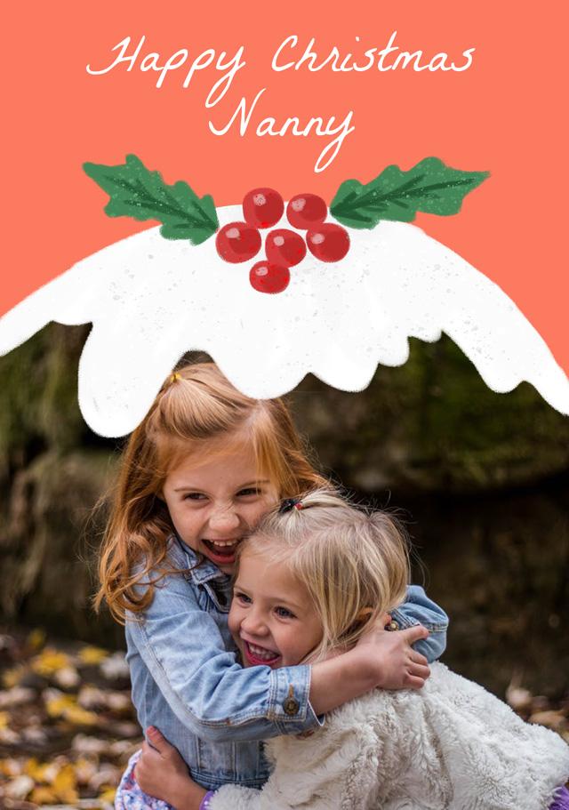 Create a Real Photo Photo Christmas Card Xmas Pudding Card