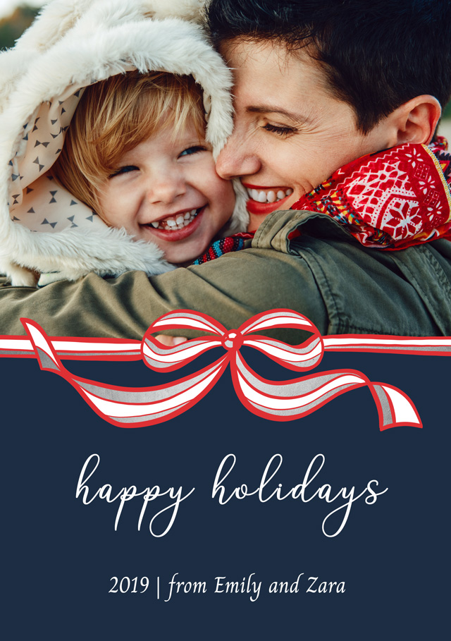 Create a Real Photo Photo Christmas Card Red And White Bow Card