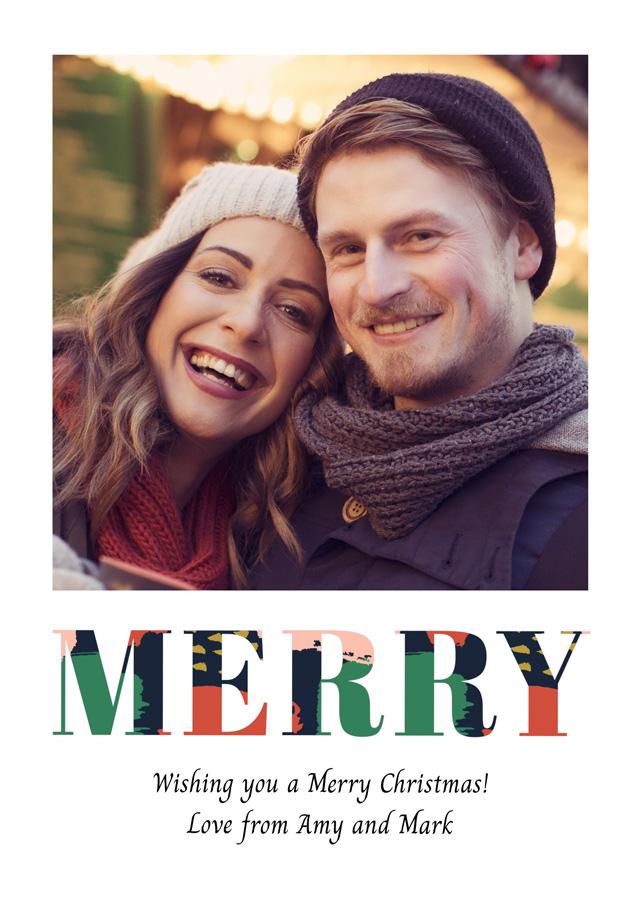 Create a Real Photo Photo Christmas Card Merry Portrait Card