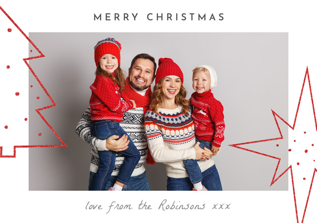Create a Real Photo Photo Christmas Card Glitter Tree And Star Card