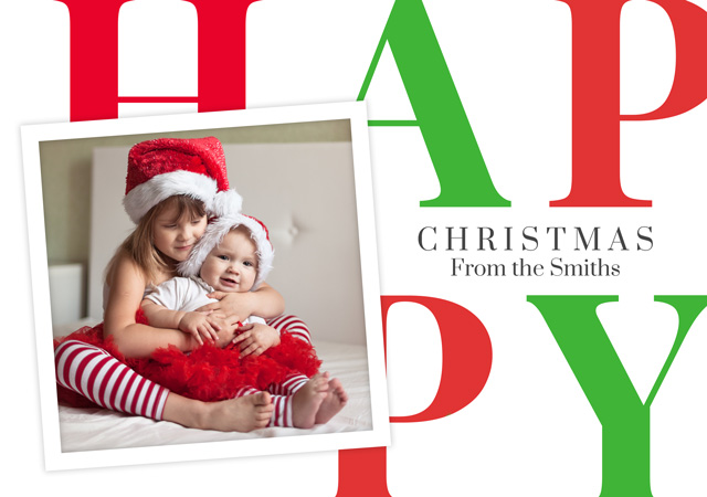 Create a Real Photo Photo Christmas Card Happy With Square Photo Card