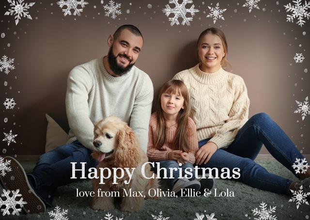 Create a Real Photo Photo Christmas Card Snowflakes Landscape Card