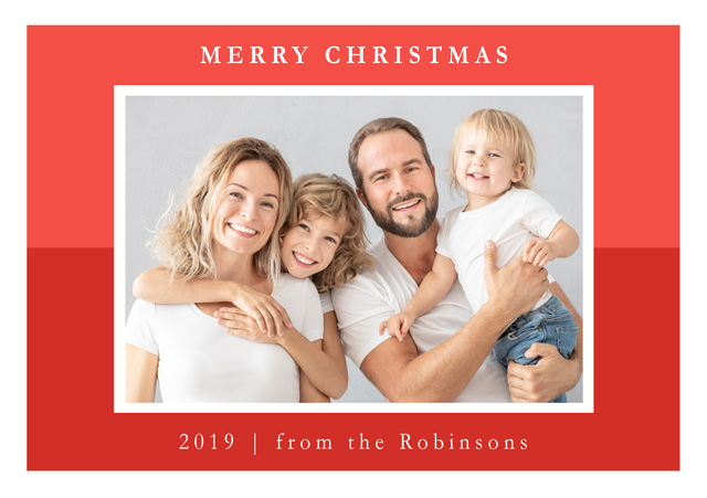 Create a Real Photo Photo Christmas Card Contemporary Two Tone Colour Landscape Card