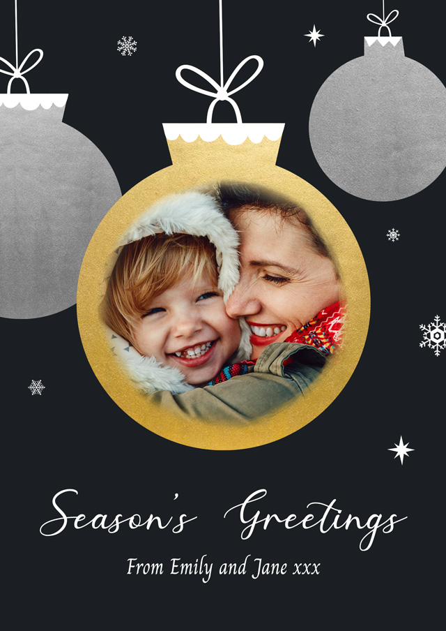 Create a Real Photo Photo Christmas Card Gold Bauble Card