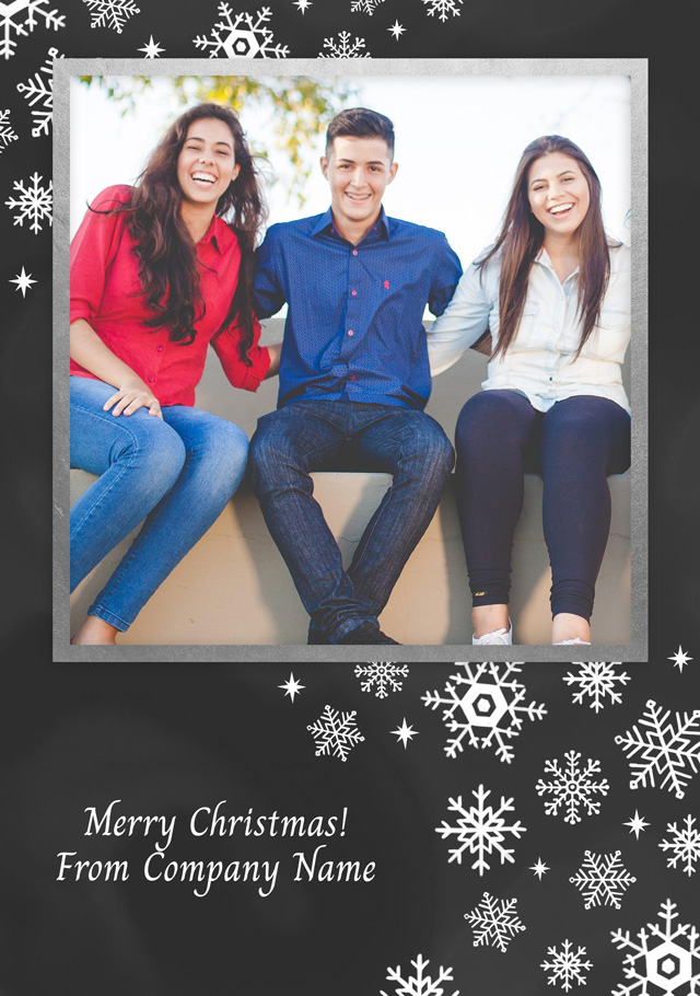 Create a Real Photo Photo Christmas Card Corporate Snowflakes Portrait Card