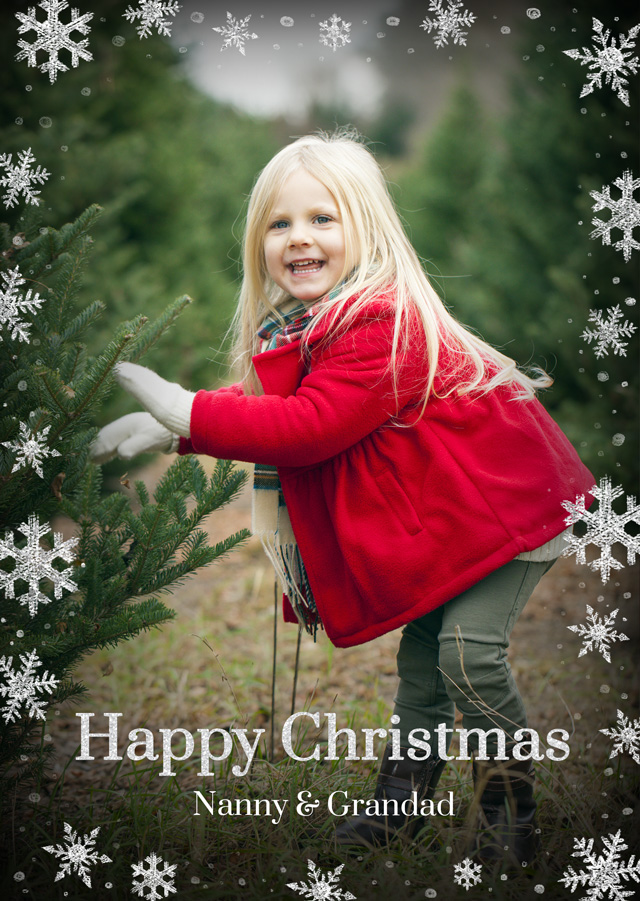 Create a Real Photo Photo Christmas Card Snowflakes Portrait Card