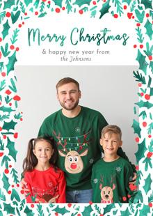 Create a Real Photo Photo Christmas Card Watercolour Holly Card