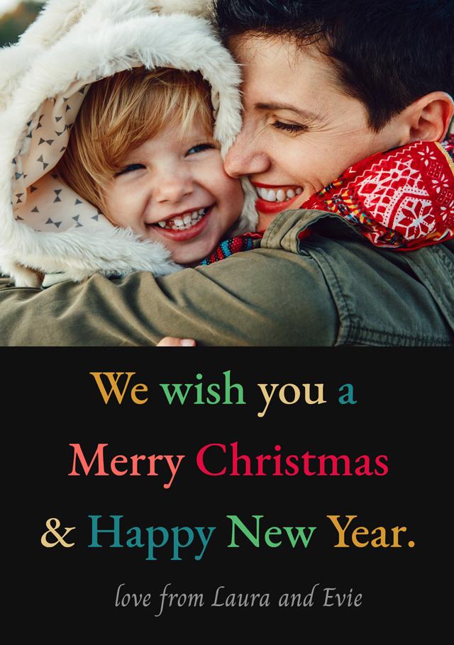 Create a Real Photo Photo Christmas Card Multi Coloured Text Card