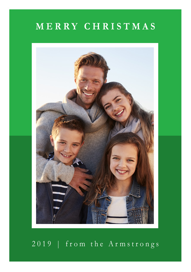 Create a Real Photo Photo Christmas Card Contemporary Two Tone Colour Portrait Card
