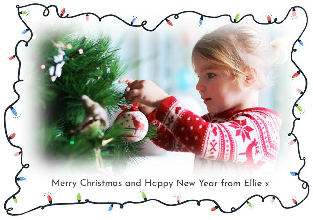Create a Real Photo Photo Christmas Card Fairy Lights Card