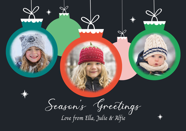 Create a Real Photo Photo Christmas Card Collage Three Baubles Card