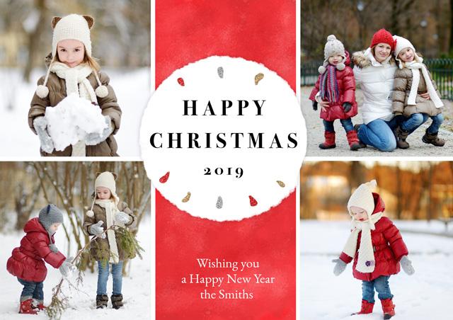 Create a Real Photo Photo Christmas Card Collage Circle Card