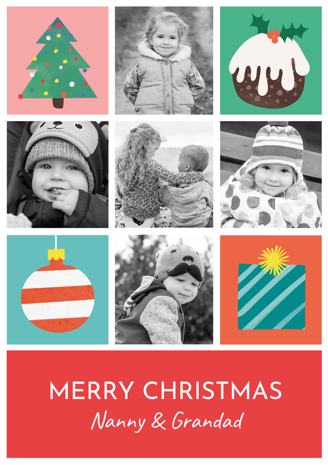 Create a Real Photo Photo Christmas Card Collage Illustrations Portrait Card