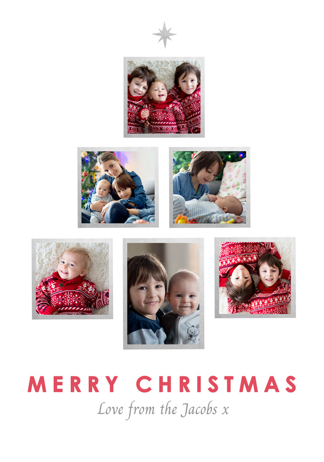 Create a Real Photo Photo Christmas Card Collage Tree Card