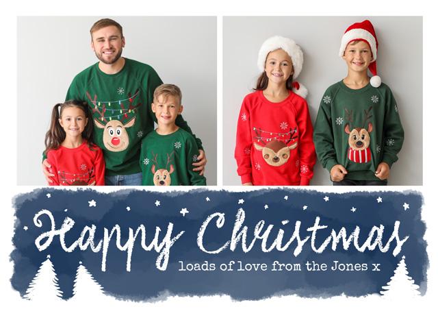 Create a Real Photo Photo Christmas Card Collage Watercolour Script Card