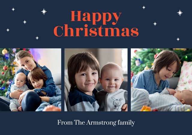 Create a Real Photo Photo Christmas Card Collage Stars Card