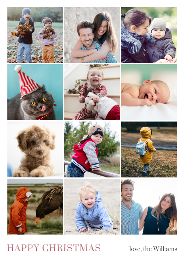 Create a Real Photo Photo Christmas Card Collage 12 Square Photos Card