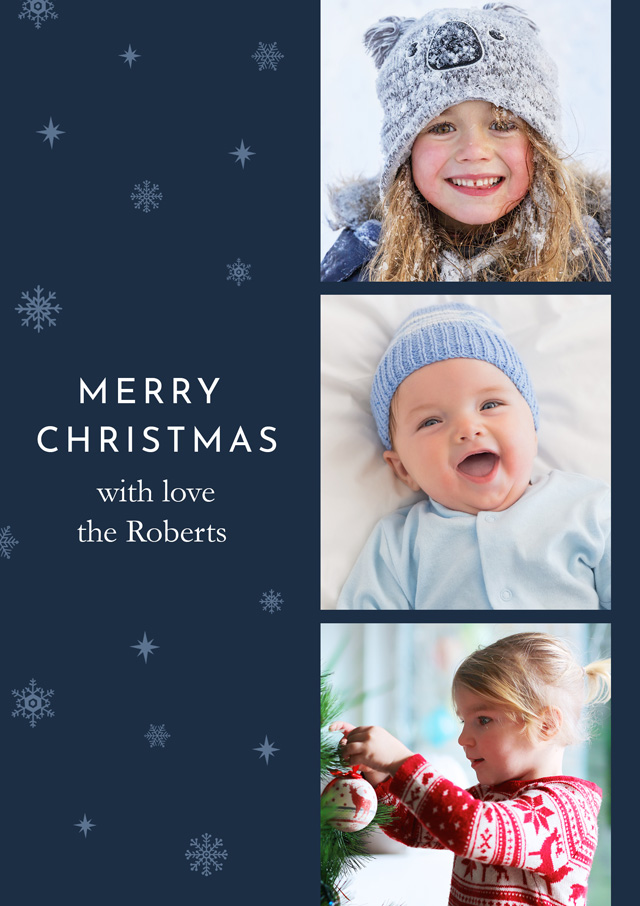 Create a Real Photo Photo Christmas Card Collage Vertical Band Card