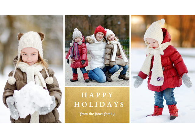 Create a Real Photo Holiday Festive Foil Collage | Landscape Photo Christmas Card Card
