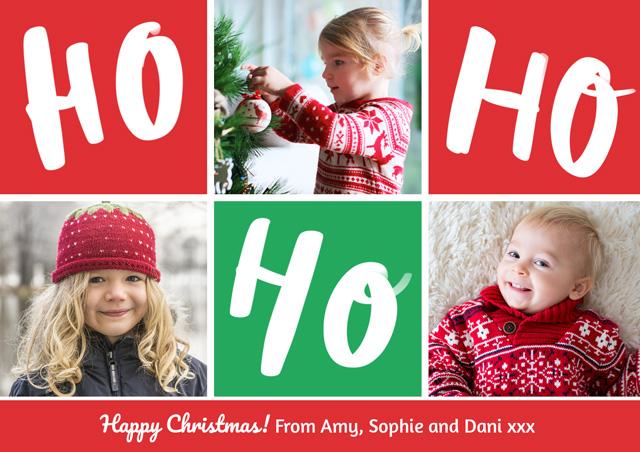 Create a Real Photo Photo Christmas Card Collage Ho Ho Ho Card