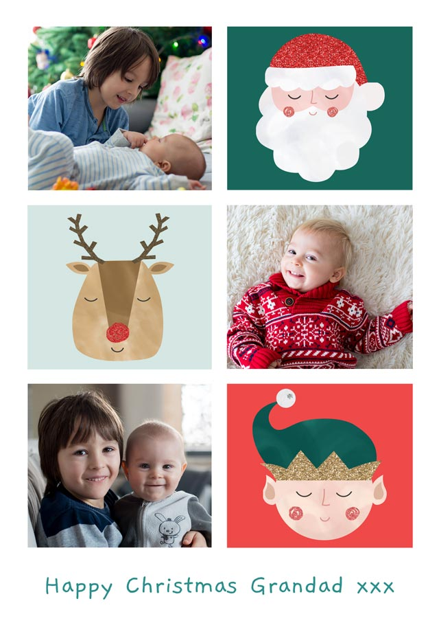 Create a Real Photo Photo Christmas Card Collage 3 Illustrations Portrait Card