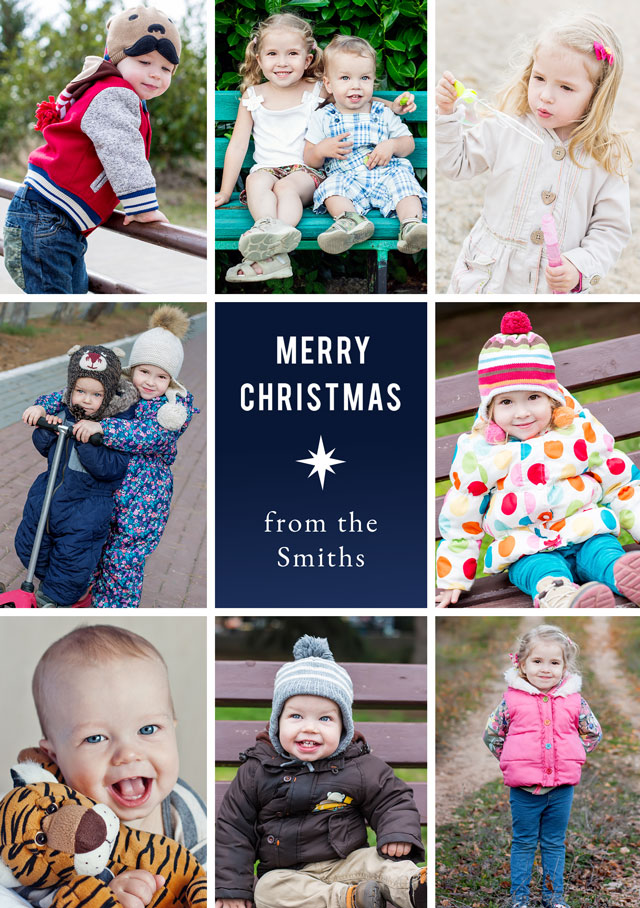 Create a Real Photo Photo Christmas Card Collage Star Portrait Card