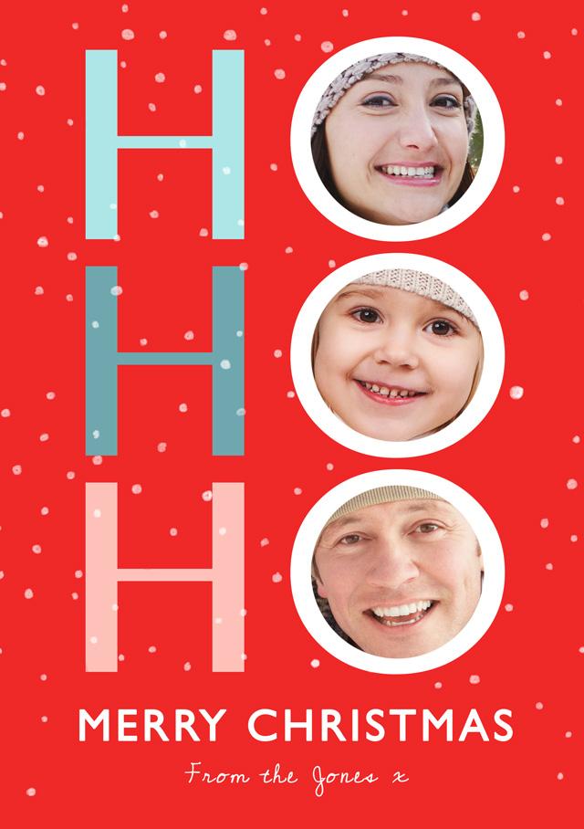 Create a Real Photo Photo Christmas Card Ho Ho Ho Portrait Card
