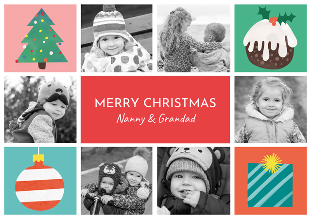 Create a Real Photo Photo Christmas Card Collage Illustrations Landscape X 6 Photos Card
