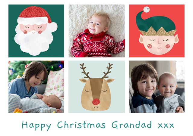 Create a Real Photo Photo Christmas Card Collage 3 Illustrations Landscape Card