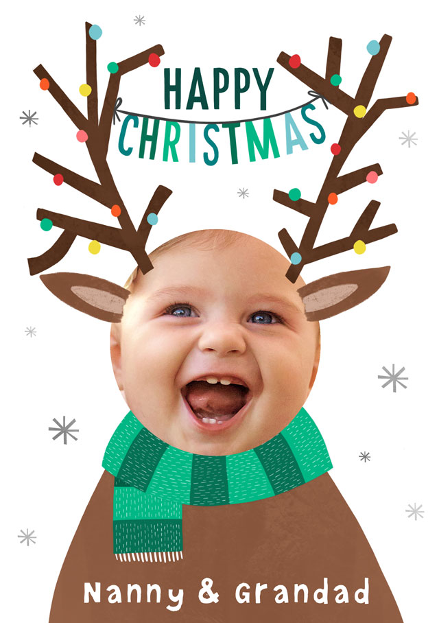 Create a Real Photo Photo Christmas Card Happy Christmas Antlers Card
