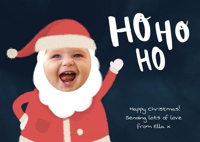 Create a Real Photo Photo Christmas Card Ho Ho Ho Santa Card