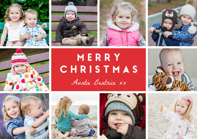 Create a personalised photo card Joyful Collage | Landscape Photo Christmas Card