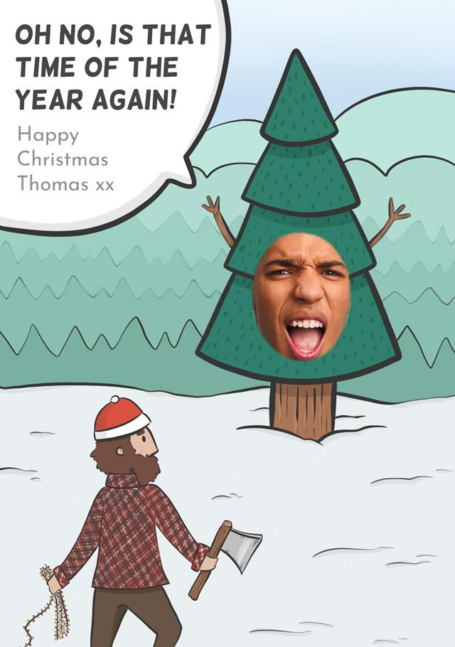 Create a Real Photo Photo Christmas Card Christmas Tree Card