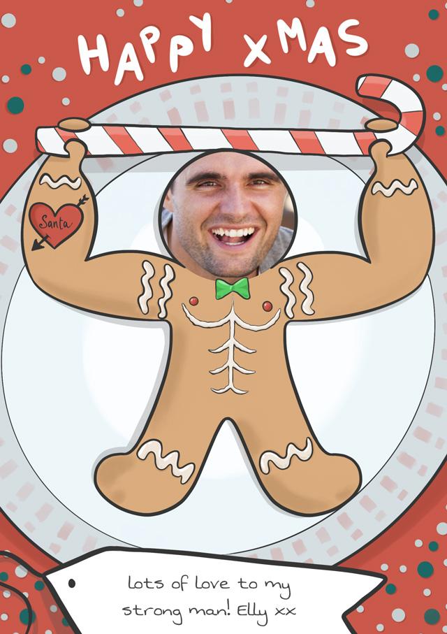 Create a Real Photo Photo Christmas Card Gingerbread Man Card