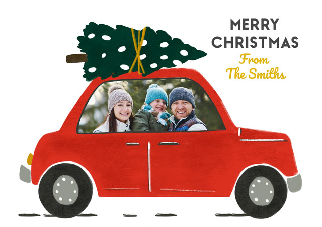 Create a Real Photo Photo Christmas Card Red Car Card