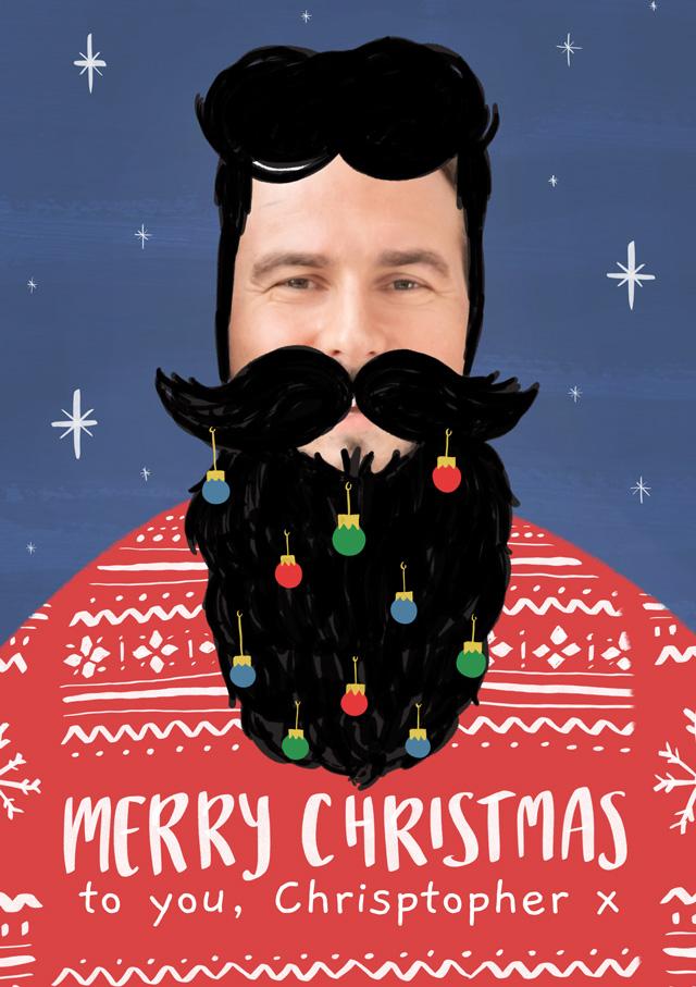 Create a Real Photo Photo Christmas Card Beard  Card