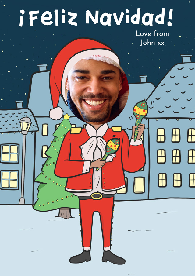 Create a Real Photo Photo Christmas Card Feliz Navidad Santa Card