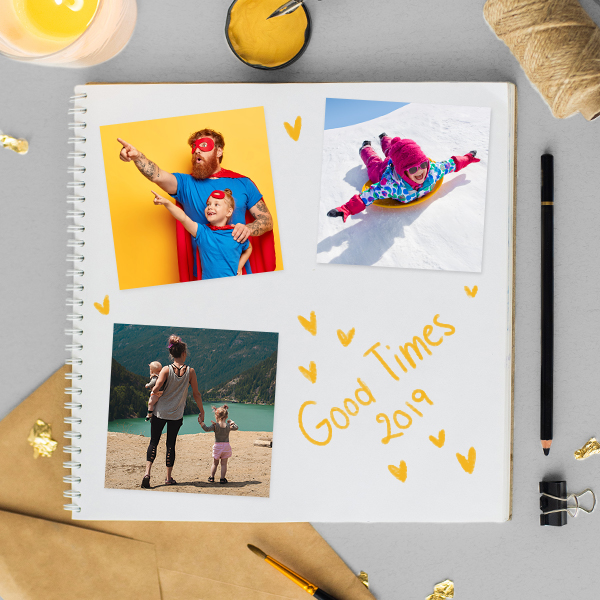 Square Photo prints in Scrapbook